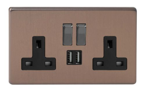 Varilight XDY5U2SBS.BZ Screwless Brushed Bronze 2 Gang Double 13A Switched Plug Socket 2.1A USB